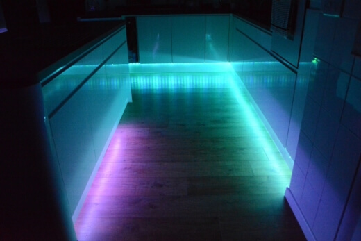 You can add under-counter lights, colour controlled lights, accent lights and spotlights to create an incredible kitchen ambience